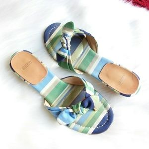 Coach | Blue Striped Marcie Kitten Heel Sandals